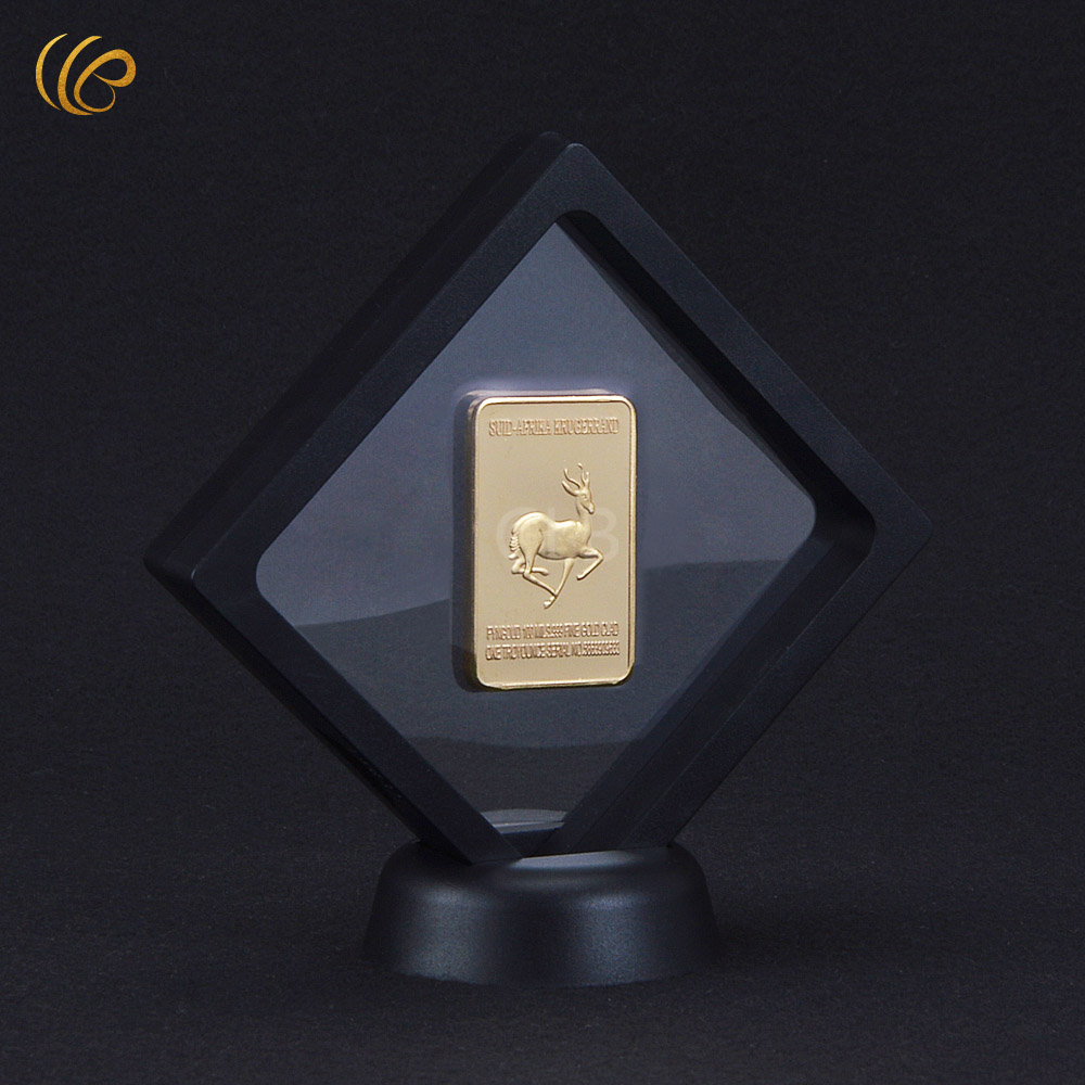 Normal Challenge Gold Bar South Africa Wildlife The King of Africa Souvenir Gold Bar with Balck Showing Stand for Collection