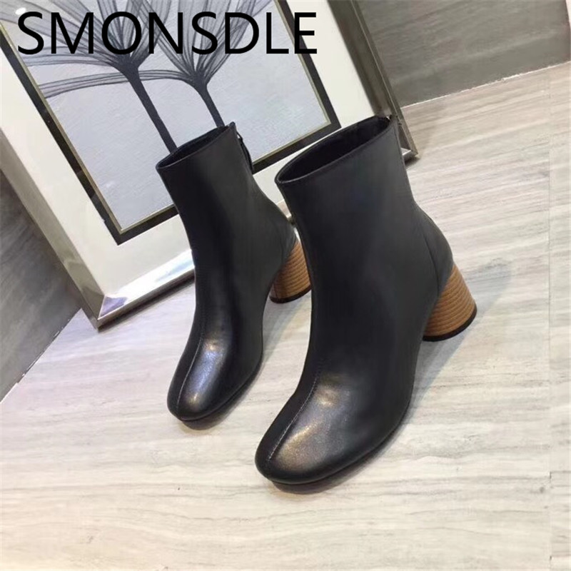 SMONSDLE New Genuine Leather Black Brown Women Ankle Boots Round Toe Back Zip Chunky Heel Women Spring Autumn Boots Shoes Woman 2017 new genuine leather elastic band chunky women ankle boot casual round toe anti skid spring autumn flat short boots zy170919