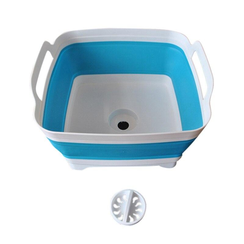 Folding Square Fruit Vegetable Washing Washbasin Storage Basket Kitchen Outdoor Travel Supply MYDING