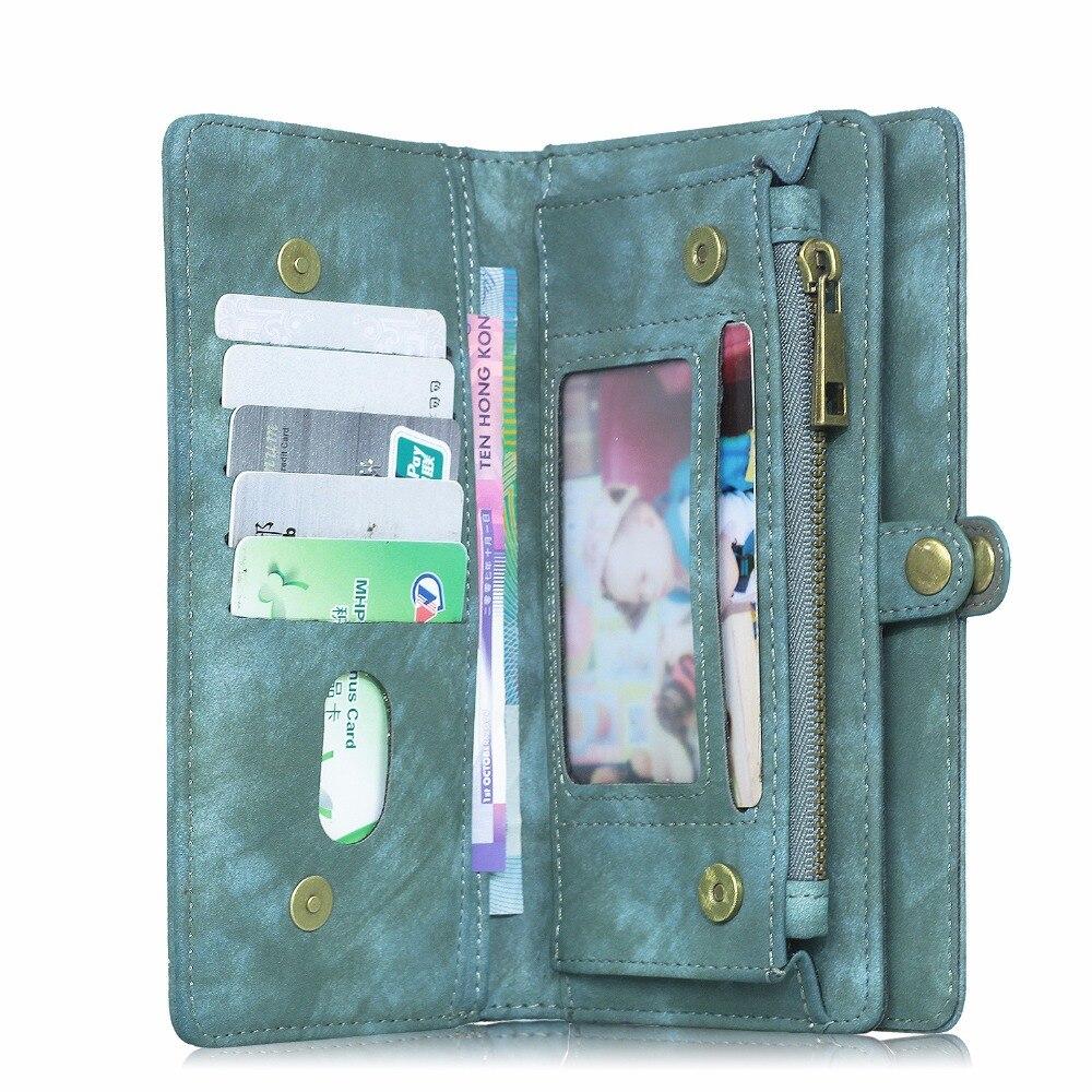 imágenes para MEGSHI Lujo Flip Funda de Cuero Genuino Para LG G6 Desmontable Multi-función cremallera Con El Portatarjetas Para G5 G4 G3 Caja Del Teléfono Bolsa