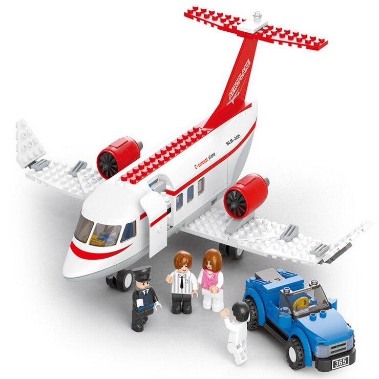 Sluban model building kits compatible with lego city plane 717 3D blocks Educational model font b