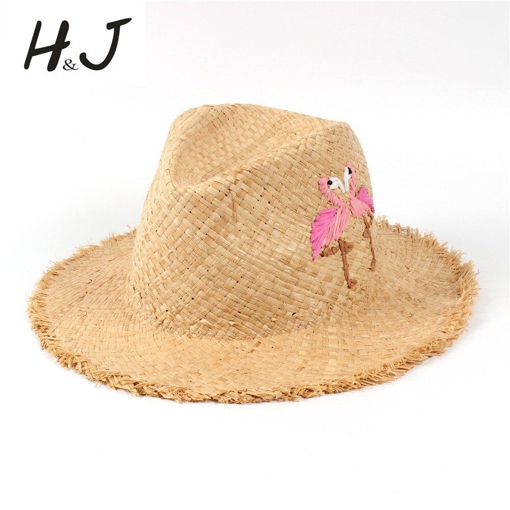 100% Bast Stroh Sommer Frauen Floppy Breiter Krempe Strand Sonnenhut Mit Handarbeit Stickerei Vogel Panama Sunbonnet