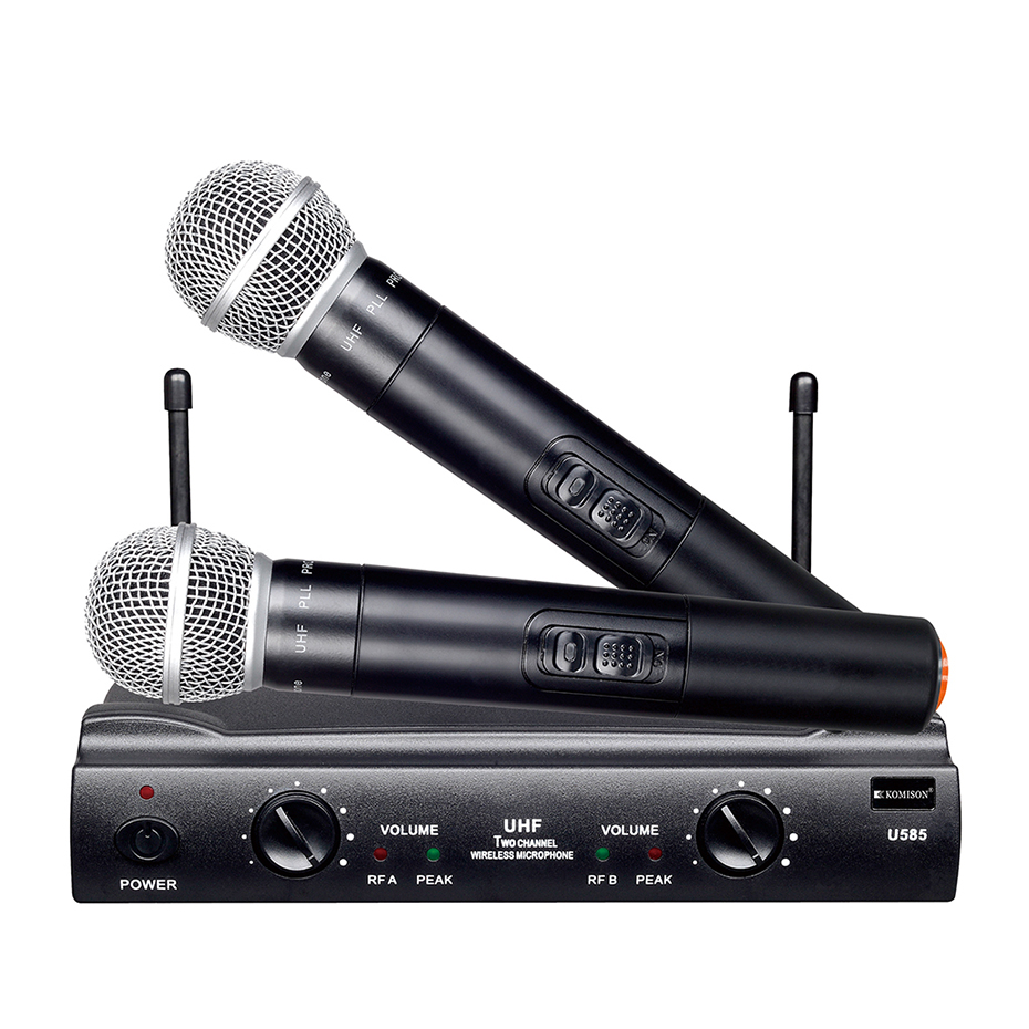 UHF Dual Channels Wireless Microphone Mic System with 1 Receiver 2 Handheld Microphones 6.35mm Audio Cable US Power Adapter high end uhf 8x50 channel goose neck desk wireless conference microphones system for meeting room
