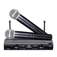 UHF Dual Channels Wireless Microphone Mic System with 1 Receiver 2 Handheld Microphones 6.35mm Audio Cable US Power Adapter
