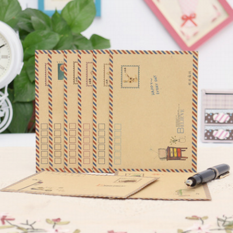 800PCS Large Vintage Envelope Postcard Letter Stationery Paper AirMail Vintage Office Supplies Kraft Envelope 12.5*17.6cm