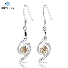 DovEggs Sterling 925 Platinum Plated Silver 5mm Tea Yellow Color Moissanite Drop Earrings for Women Jewelry Gift Dangle Earrings