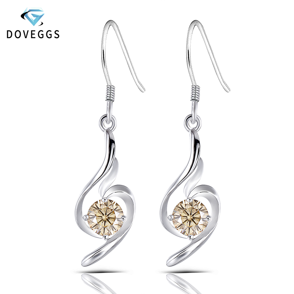 DovEggs Sterling solide 925 argent 5MM 0.5CT thé couleur jaune Moissanite boucles d'oreilles pour femmes bijoux cadeau boucles d'oreilles