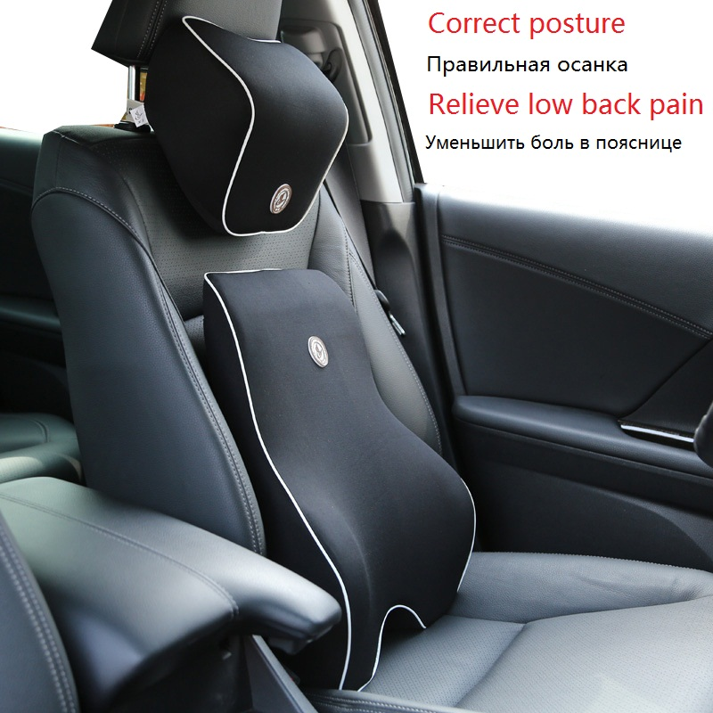 Car Auto Seat Supports Neck And Back Support Pillow Set Memory Foam Lumbar Support Relieve Driver Waist Pain Black office chair