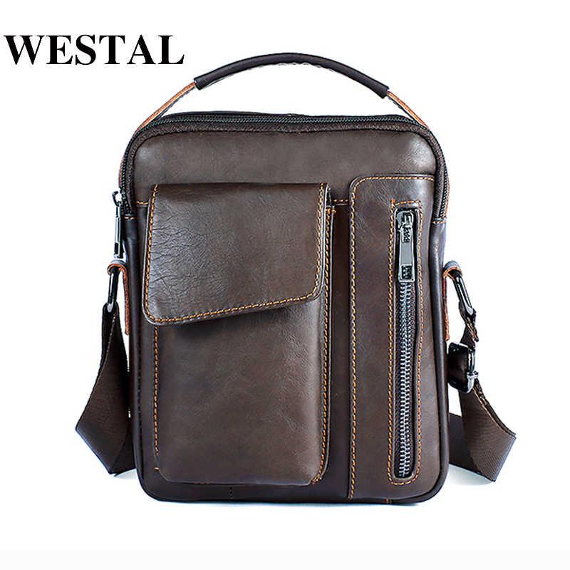 d9b70409a9 WESTAL Messenger Bag Men s Genuine Leather Shoulder bag Male Casual Oil  Leather Small Flap man Crossbody
