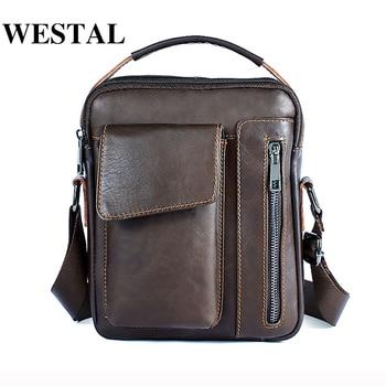 33d97c4dc985 WESTAL сумка Для мужчин из натуральной кожи сумка мужской Повседневное  масло кожа небольшой лоскут человек Crossbody сумки для Для мужчин Сумки