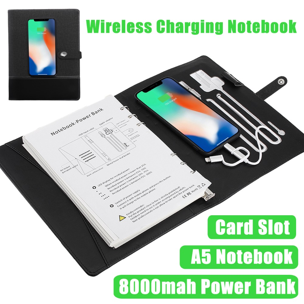 Multi Functional Notebook with 6000 mAh Power Bank Qi Wireless Charging Note Book Binder Spiral Diary Planner Business Note BookMulti Functional Notebook with 6000 mAh Power Bank Qi Wireless Charging Note Book Binder Spiral Diary Planner Business Note Book