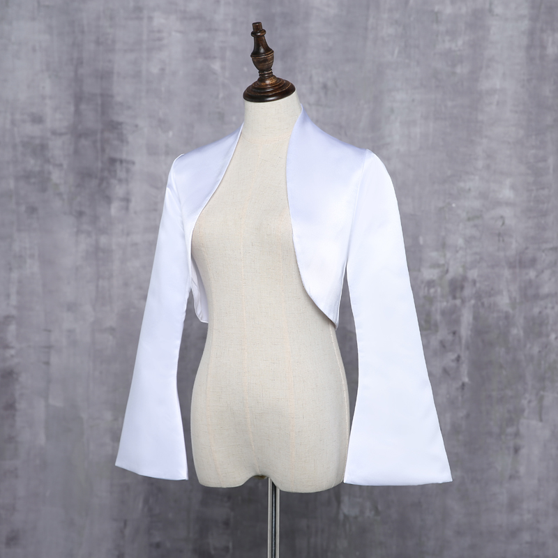 Wedding Jackets Bridal With Long Sleeves Satin White Ivory Bride Shrug Coat For Evening Party Bolero Renda