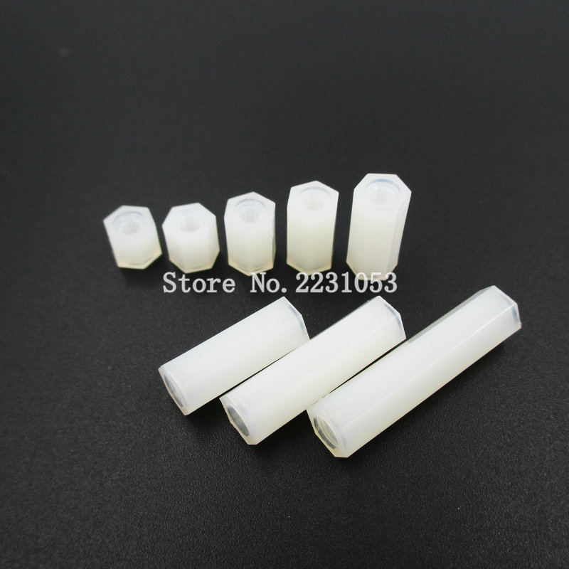 50PCS White Plastic Nylon M3 Hex Column Standoff Spacer Screw For PCB Female Stand-off M3 Hex Screw M3*5/6/8/10/12/15/20/25mm+6 m3 nylon hex column male 6mm x m3 female spacer standoff screw nut