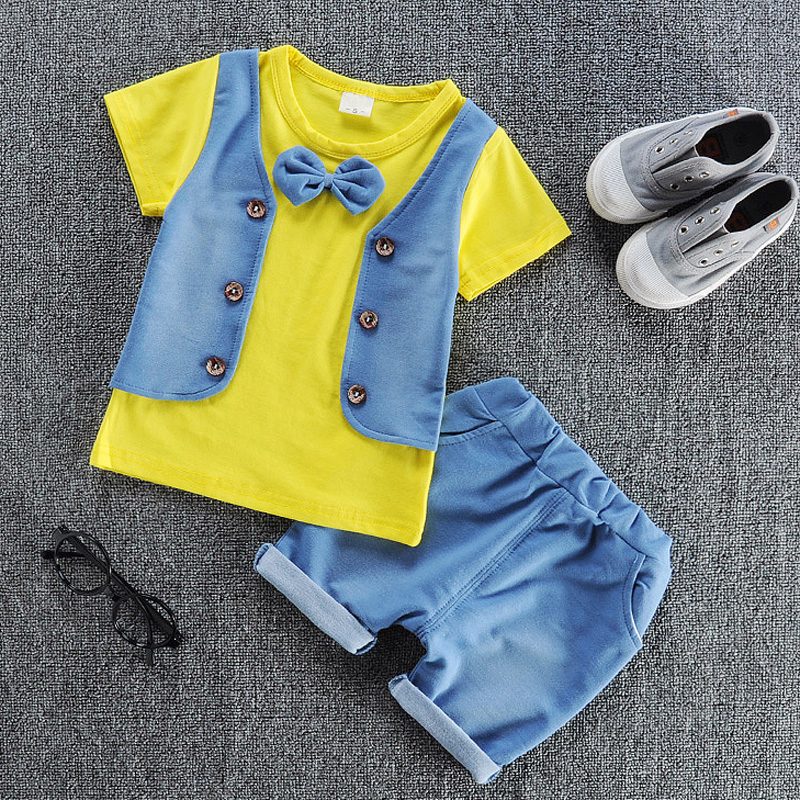 children bowtie clothing suits kids casual solid T-shirt+ pant 2Pcs/set boys girls fashion summer sets. 2018 girl summer sets new children s skirt 2pcs college chiffon clothing set white half sleeve blouse black long skirts suits