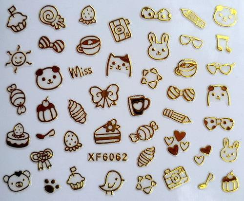 New XF coated 3D nail stickers 3D nail sticker is color XF6062