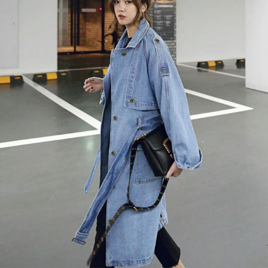 2018 Autumn Women Denim   Trench   Long Sleeves Casual Fashion Women Denim Coat Slim Jeans   Trench   coat