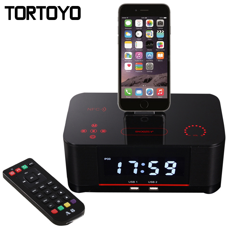 A8 Touch Alarm Charger Dock Station Stereo Wireless Bluetooth Speaker with NFC FM Radio for iPhone 5 6 6s 7 Plus Android Phone remax 2 in1 mini bluetooth 4 0 headphones usb car charger dock wireless car headset bluetooth earphone for iphone 7 6s android