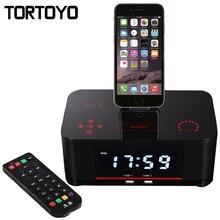 A8 Táctil Alarma Cargador Dock Station Altavoz Estéreo Bluetooth Inalámbrico con NFC Radio FM para el iphone 5 6 6 s 7 Plus Android teléfono