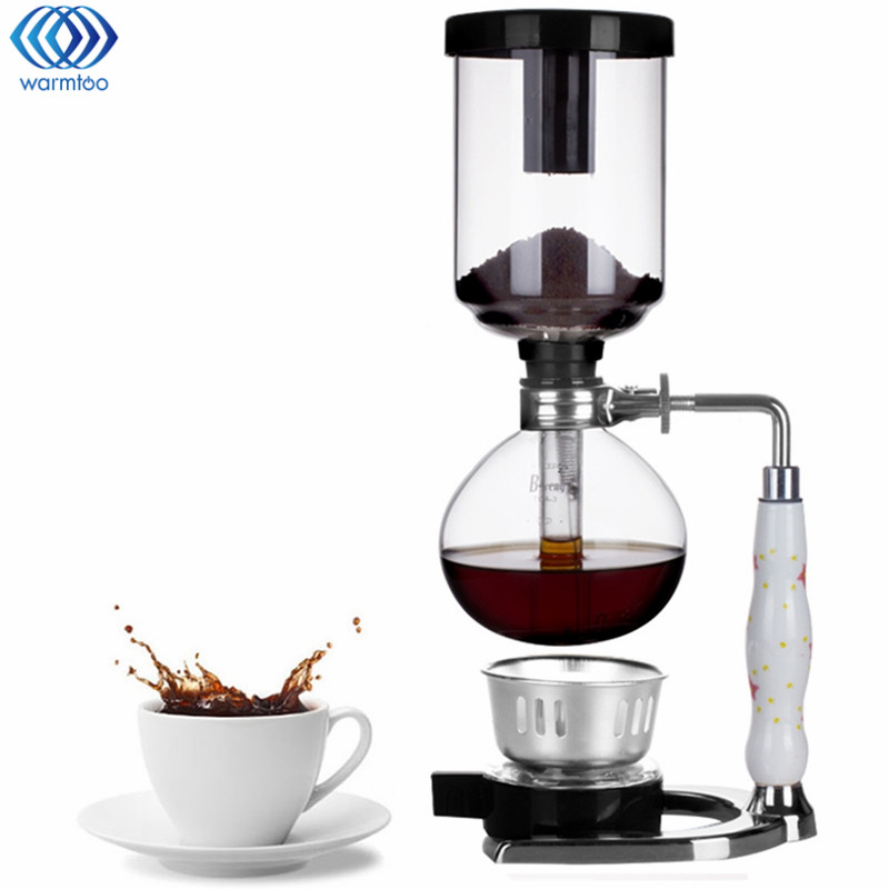3 Cups Glass Siphon Coffee Maker Cafetiere Pot Syphon Drip Coffee Maker Kitchen Coffee Machine Filter Tools Fashion