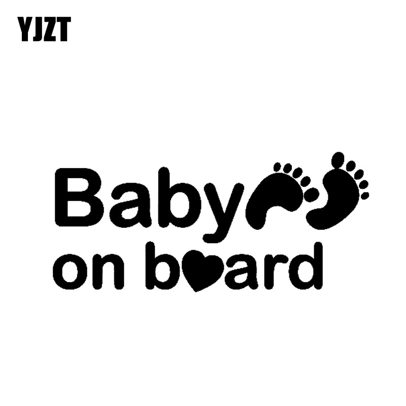 YJZT 18 см * 8 см ребенок на борту Стикеры Автомобиля Виниловые наклейки личность следы знак черный/серебристый C10-00701