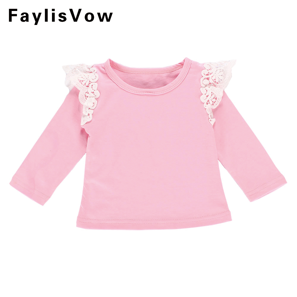 Clearance Baby Girls Long Sleeve T-shirt Toddler Cotton Lace Flying Sleeve T-shirts Toddler Tops Outfit Solid Stripe Blouse