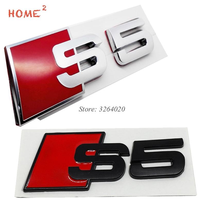 Car Accessories Emblem Decals for S5 S 5 Logo Auto Metal Badge Stickers Decoration for Audi A3 A4L A5 Q3 Q5 Q7 TT S3 B8 Quattro