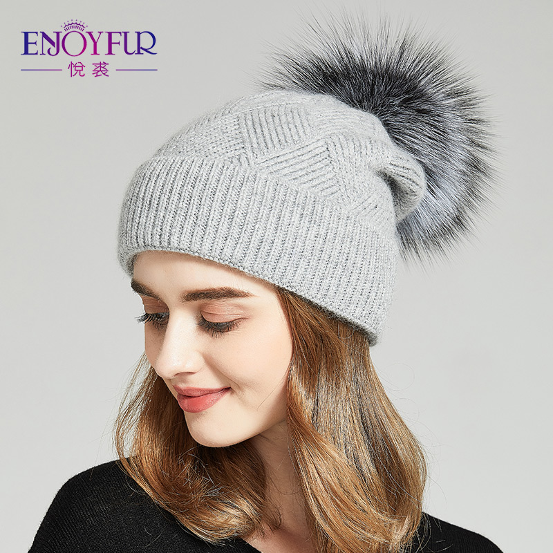 94bf0d3ec23 Detail Feedback Questions about ENJOYFUR Winter Natural Fur Pom Pom Hat For  Women Thick Warm Wool Caps Lady Hat Slouchy Beanies Fur Hat Female on ...