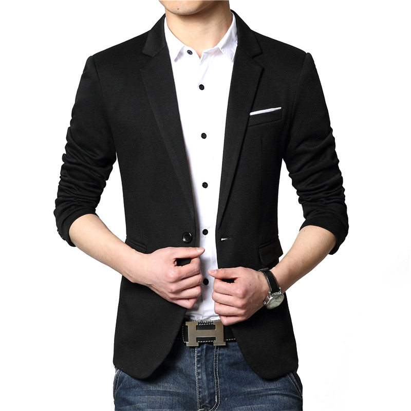 New Fashion Blazer Men British Style High Quality Slim Fit