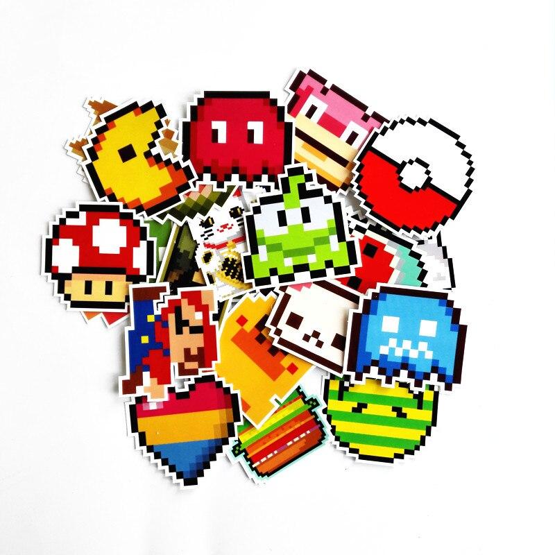 Td Zw Autocollants Dessins Animes 25 Pieces Autocollants Style Mario Pixel Pour Snowboard Ordinateur Portable Bagages De Voiture Bricolage Bricolage Bricolage La Maison Aliexpress