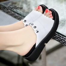 цены Summer Woman Shoes Platform Sandals Wedge Beach Flip Flops High Heel Slippers For Women Fashion Crystal Slides Shoes Size 34-43