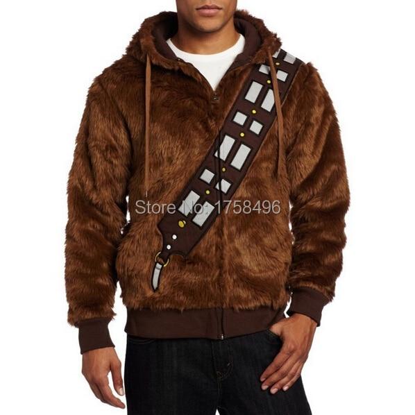 Star Wars Jaz sem Chewie Chewbacca Furry Poliester Rjavi kostum Hoodie Cosplay Jakna plašč