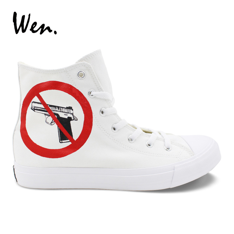 Wen Customize Vulcanize Shoes No Gun Gunshot Wound Hand Painted Canvas Shoes White Top High Sneakers Man Woman Designer Plimsoll wen giraffe canvas shoes classic white hand painted animal sneakers sports high top skateboarding shoes for man woman