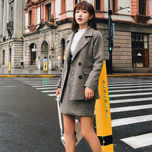 Vintage Solid Thick Women Skirt Suits Double Breasted Jacket Blazer & High Waist Short Skirt Autumn Winter Female 2 Pieces Set(China)