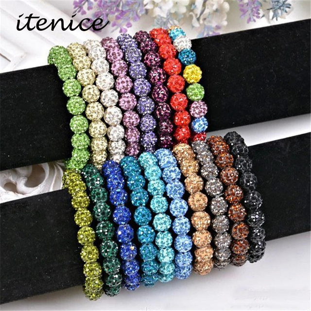 Fashion Itenice Fashion Jewelry Handmade Crystal Shamballa Bangles Strand Shambala Charm Stone Chain Beads Bracelets For Women