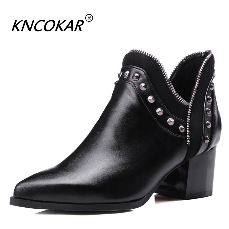 New Autumn Winter Chelsea Pointed End Boots Fashionable Metal Zipper Bare Boots Vintage Rivet Studs With Short Mid-Heel BootsNew Autumn Winter Chelsea Pointed End Boots Fashionable Metal Zipper Bare Boots Vintage Rivet Studs With Short Mid-Heel Boots