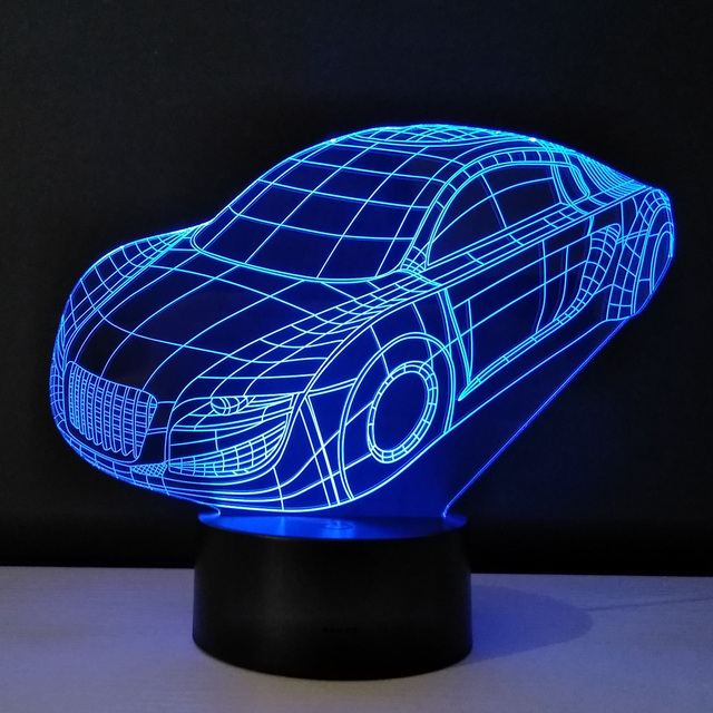 3d Visual Night Light Car Shape Bedside Table Lamps For Children