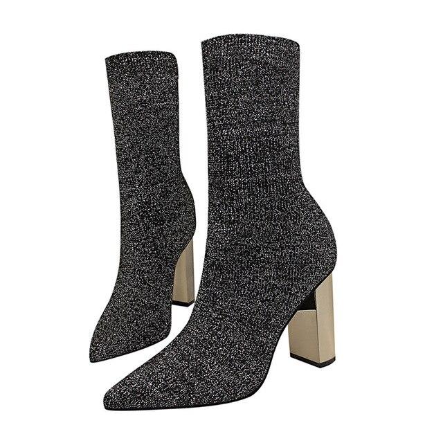 073903584eac97 À Luxe Pointu Femme Noir Hauts Noir Argent Mode De Chaussures 2018 Bottes  Bout Talons Épais ...
