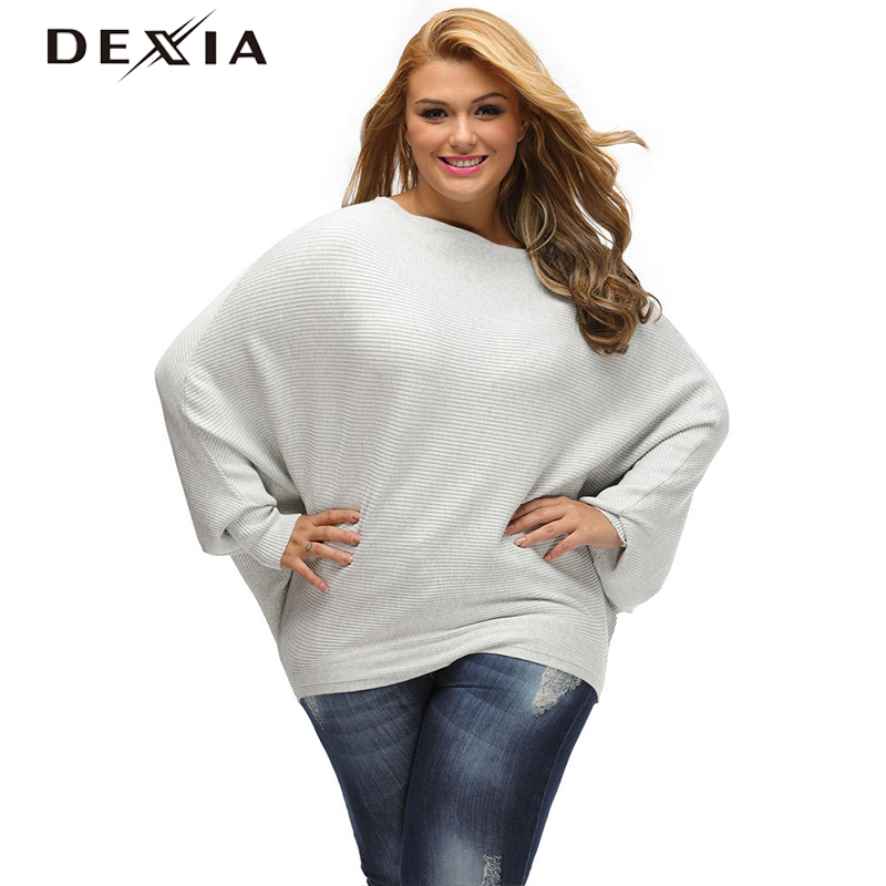 DEXIA Autumn 2017 Fashion Solid Sweater Women Plus Size Slash Neck Full Sleeve Knitted Pullover Female Elegant Christmas Sweater
