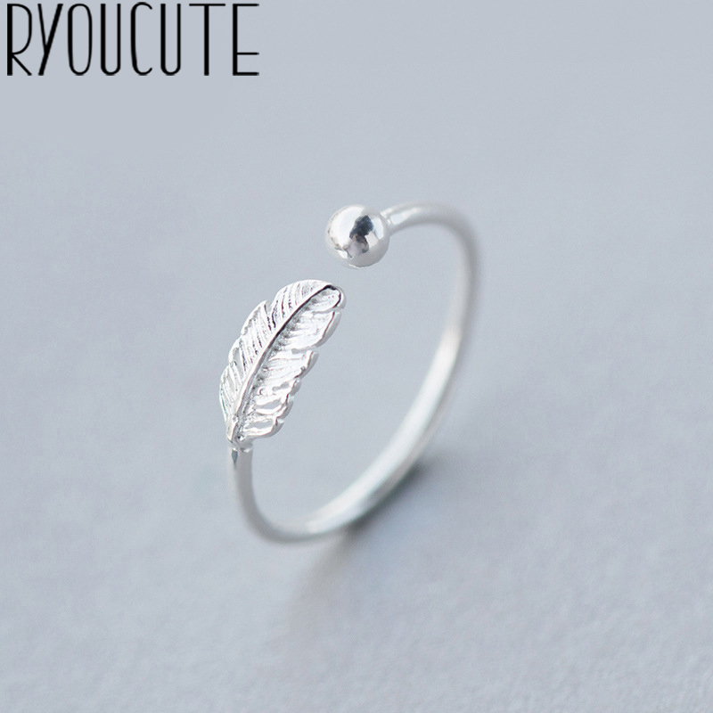 RYOUCUTE 100% Real Silver Color Jewelry Fashion Feather Ball Beads Rings for Women Bijoux Statement Antique Ring Anillos 1