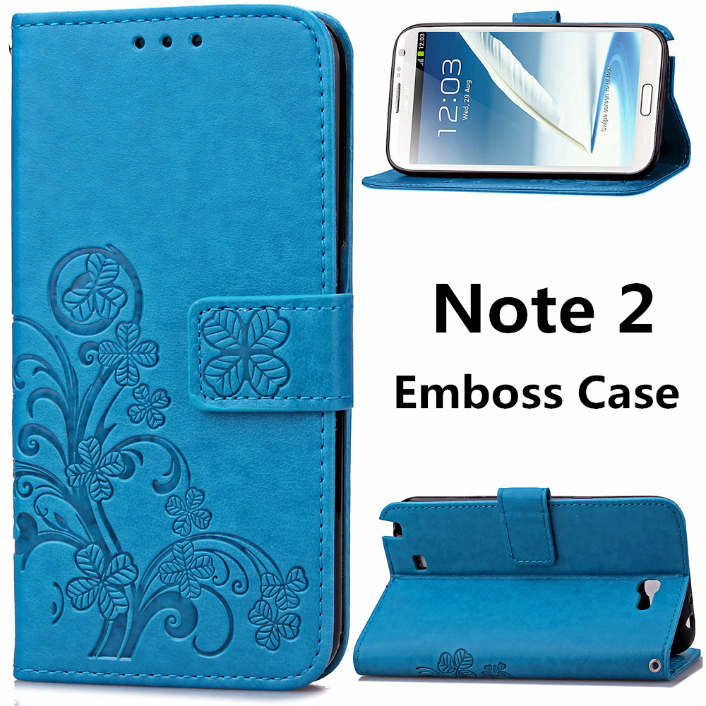Note2 Emboss Leather Case for Samsung Note 2 N7100 Flip