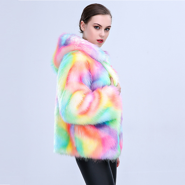 Colorful Artificial Fur Coat with Hooded 1