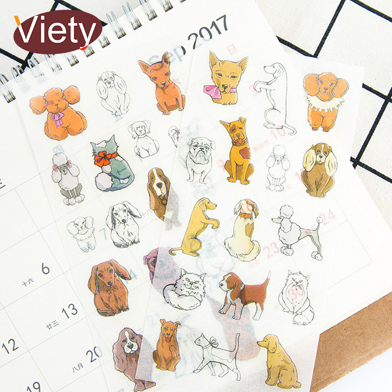 6 Sheets/lot Cartoon Cute Pet Dog Paper Sticker DIY Scrapbooking Diary Album Sticker Paste Stationery School Supplies