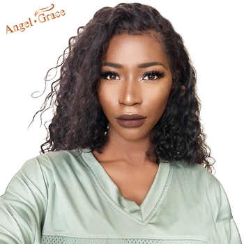 Angel Grace Hair Deep Wave Bob Lace Front Wigs Brazilian Human Hair Bob Wigs Natural Black Short Human Hair Wig For Woman - DISCOUNT ITEM  49% OFF All Category