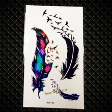 3D Black Flying Birds Feather Tattoo Paste For Men Women Arm Neck Fake Tatoo Body Art Waterproof Temporary Tattoo Sticker GAQ143