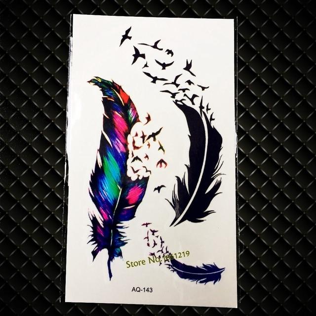 3d Negro Flying Aves Plumas Tatuaje Pasta Para Hombres Mujeres Brazo