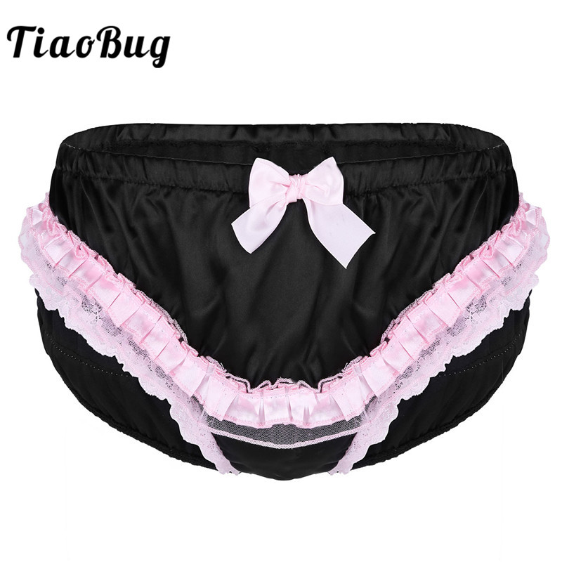 TiaoBug Mens Black Lingerie Sissy Soft Ruffled Lace Cute Bowknot Bikini Briefs Underwear Sexy Male Men Hot Cute Erotic Panties