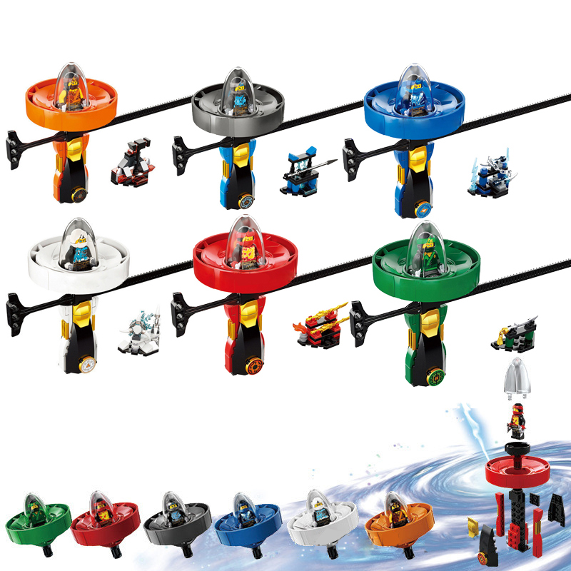 6pcs Ninjago Super heroes Spinning flying beyblade Zane Cole Lloyd Action Figures Building Toys gifts Compatible with LegoINGlys