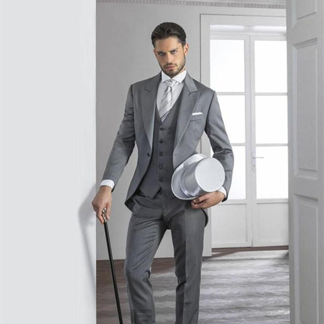 Light Grey Mens Suits Hot Peaked Lapel Tuxedos one button wedding ...