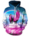 Women Men Fashion llama Hoodie Outerwear Harajuku rainbow pink llamacorn 3D Hoodies  Loose Hooded Sweatshirt