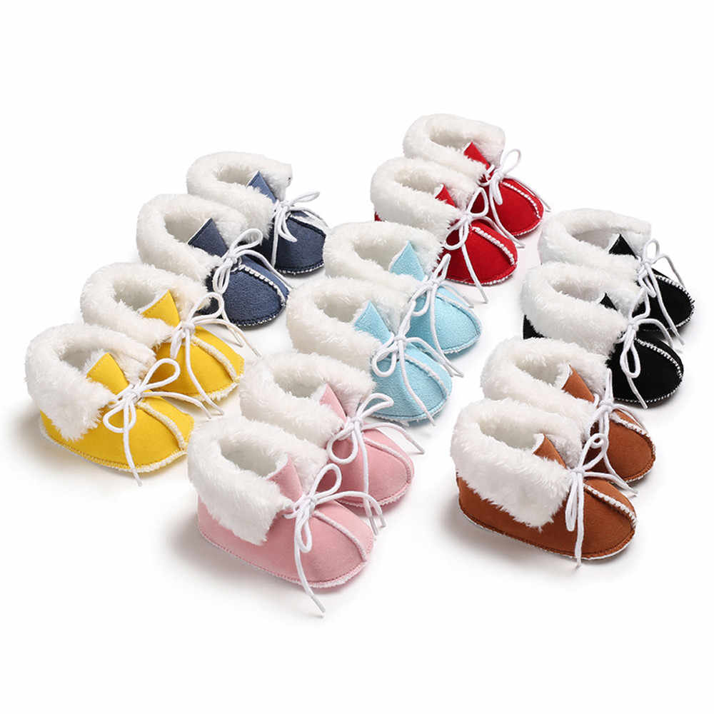 Baby Girl Boy Soft Booties Pure Color Bandage Snow Boots Toddler Baby Shoes for Boy Girl Toddler Non-slip Kids Shoes Leather Kid